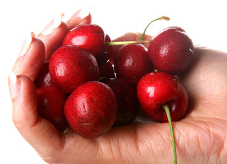 Woman Holding Cherries. Model Released