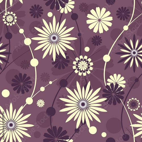 Seamless violet floral pattern (vector)