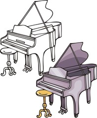 Violet grand piano. Musical instruments.