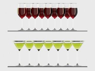 Wine and martini glasses on the shelf