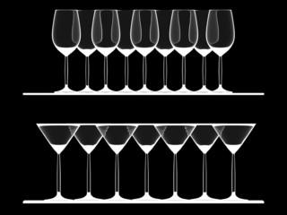 Empty Wine and Martini glasses on the shelf