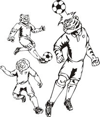 The tiger beats a head on a ball. Soccer mascot.