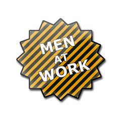 "Estrella brillante con texto ""MEN AT WORK"""