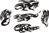Five linear black dragons. Lines dragons. poster
