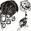 Bear,  anoplogaster and lion. Tribal predators.
