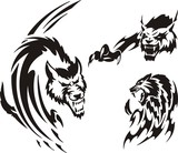 Two wolf and lynx. Tribal predators. poster