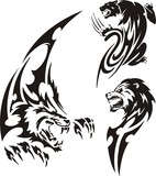 Stolen panther, wolf and lion. Tribal predators. poster