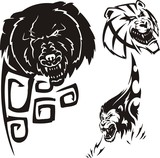 Bear,  anoplogaster and lion. Tribal predators. poster