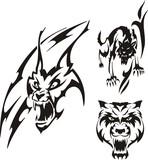 Aggressive lynx and black wolf. Tribal predators. poster