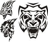 Tiger, lynx and lion. Tribal predators. poster