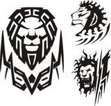 Three drawings of a lion. Tribal predators. poster