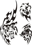 Bear, wolf and lion. Tribal predators. poster