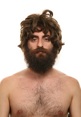 man and wig