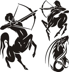 Two centaurs and mountain goat. Tribal clipart.