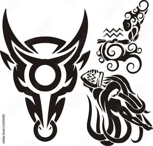 Bull and two Aquariuses. Tribal clipart.