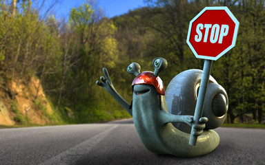 Education snail with road sign in one hand