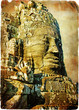 Quadro bayon face - ancient temples of cambodia- vintage picture