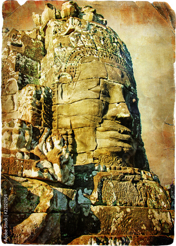bayon face - ancient temples of cambodia- vintage picture