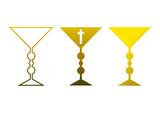 Clipart-Set: Drei goldene Kelche (Religion) poster
