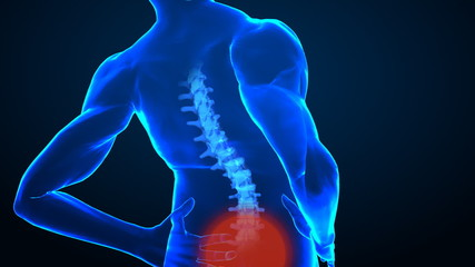 Pain in human spine concept with highlighted area