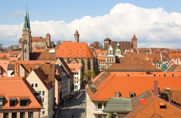 Bird's-eye view of Nuremberg roofs. Bavaria, Germany