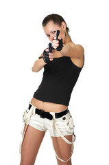Young female with two handguns