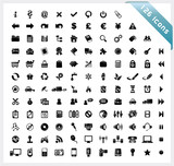 Black set of 126 shiny icons