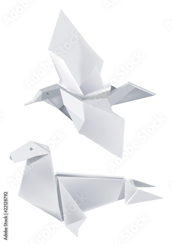 Deurstickers Geometrische dieren paper_seal_and_bird
