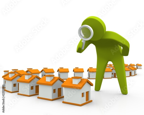 3D person inspecting houses