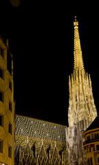 katedra św Szczepana w Wiedniu nocą