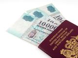 UK passport and hungarian forint notes poster