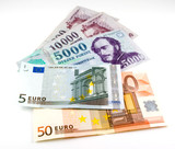 euro and hungarian forint bank notes poster