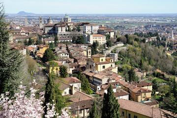 Aerial view of Bergamo, Città Alta, Lombardy, Italy