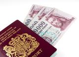 EU passport and hungarian forints poster