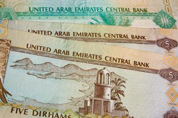 United Arab Emirates banknote background, English