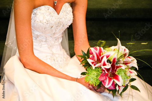 white wedding dress lily flower bouquet