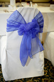 white and blue chair cover events poster