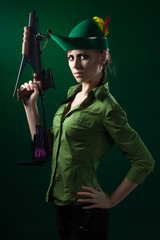 Robin hood style woman with crossbow
