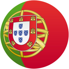 Portugal flag icon, button with official coloring