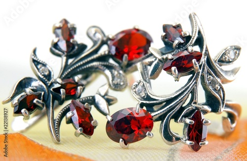 Silver earrings with a red garnet