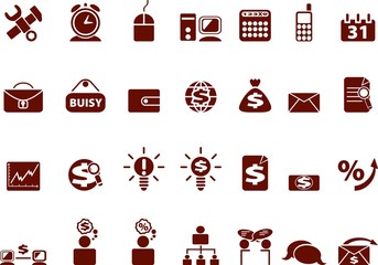 Collection of red web icons. vector