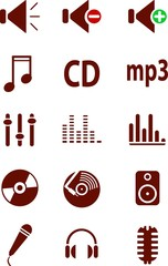 Collection of red icons. vector