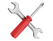 spanner and screwdriver on white background