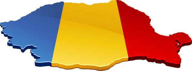 Carte de la Roumanie 3D drapeau (détouré)