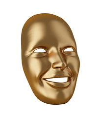 Gold mask isolated on white