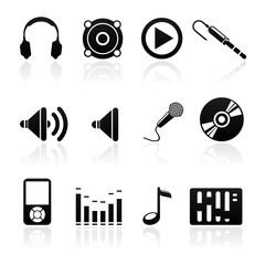 icon set audio black on white