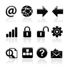 icon set web black on white