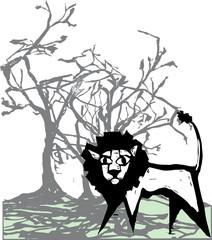 Lion beneath tree