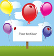 vector background with sky and balloons