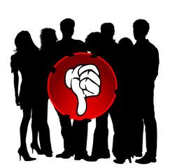 Gruppe Menschen - Daumen nach unten